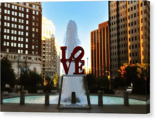 Philadelphia Phillies Canvas Print - Love Park - Love Conquers All by Bill Cannon