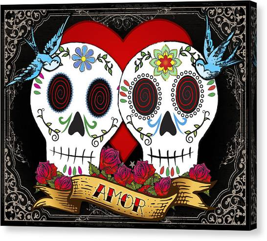 Folk Art Canvas Print - Love Skulls II by Tammy Wetzel