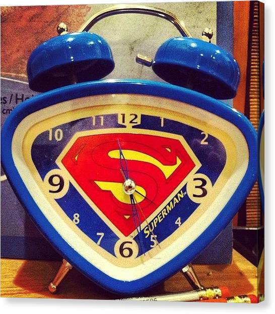 Superhero Canvas Print - Superman Clock by Joan McCool