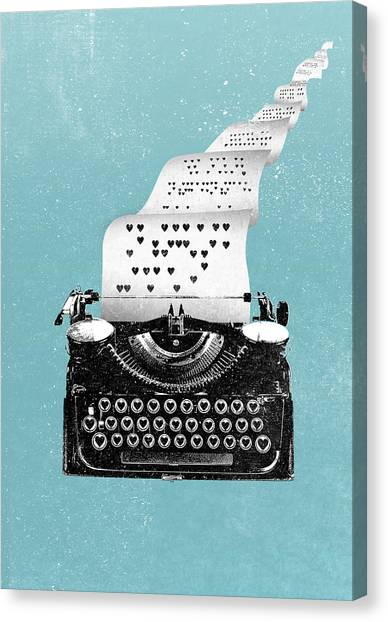 Love Typewriter Poster Canvas Print