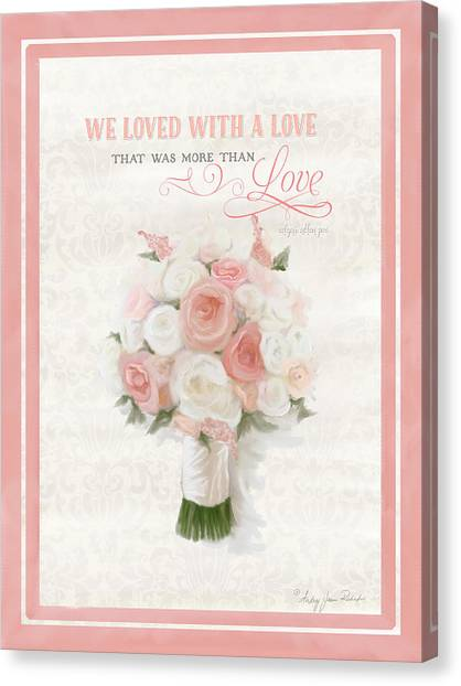 Wedding Bouquet Canvas Print - Love Typography Bridal Bouquet Damask Lace Coral Peach Blush by Audrey Jeanne Roberts