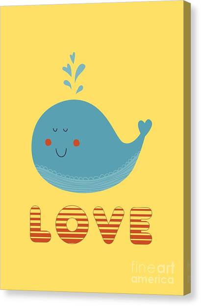 Whale Canvas Print - Love Whale Cute Animals by Edward Fielding