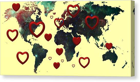 Love World Map 2 Canvas Print