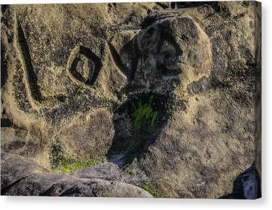 Love Written In Stone Canvas Print