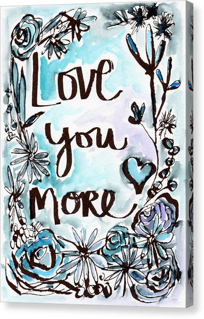 Anniversary Canvas Print - Love You More- Watercolor Art By Linda Woods by Linda Woods