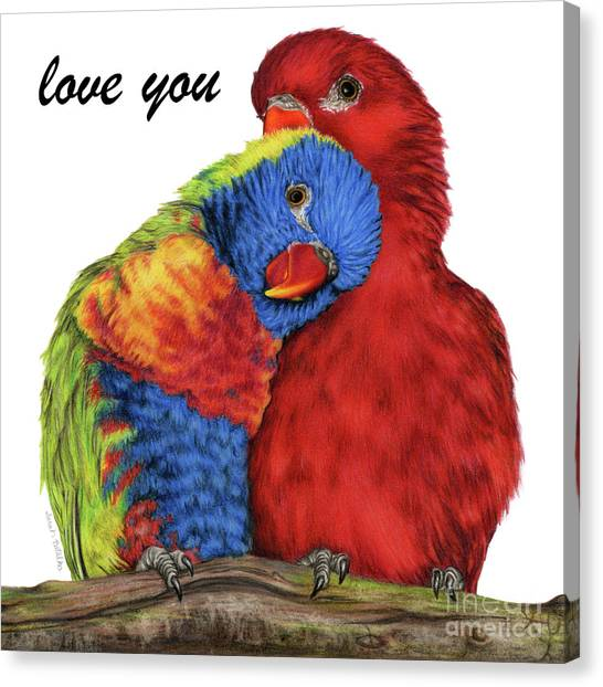 Lovebirds Canvas Print - Love You by Sarah Batalka