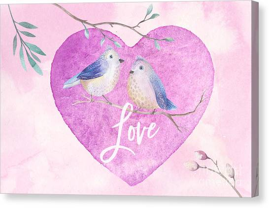 Lovebirds For Valentine's Day, Or Any Day Canvas Print