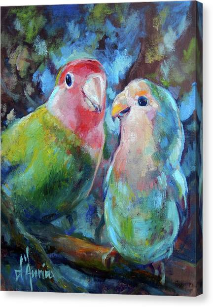 Parakeets Canvas Print - Lovebirds by Tom Dauria
