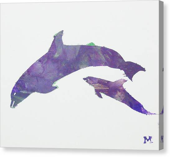 Canvas Print featuring the painting Lovely Dolphins by Candace Shrope