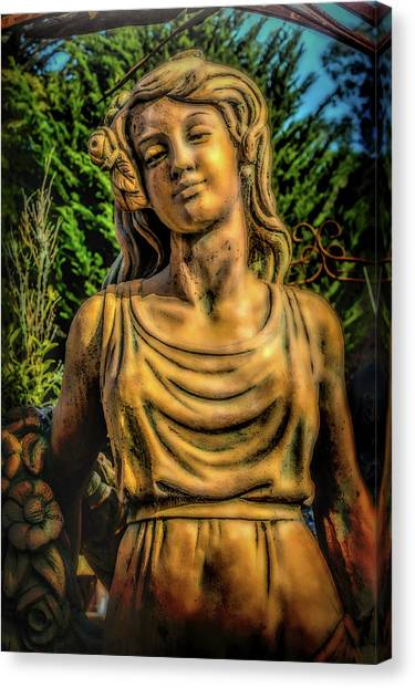 Spider Web Canvas Print - Lovely Garden Statue by Garry Gay