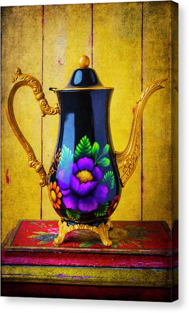 Tea Time Canvas Print - Lovely Handpainted Teapot by Garry Gay
