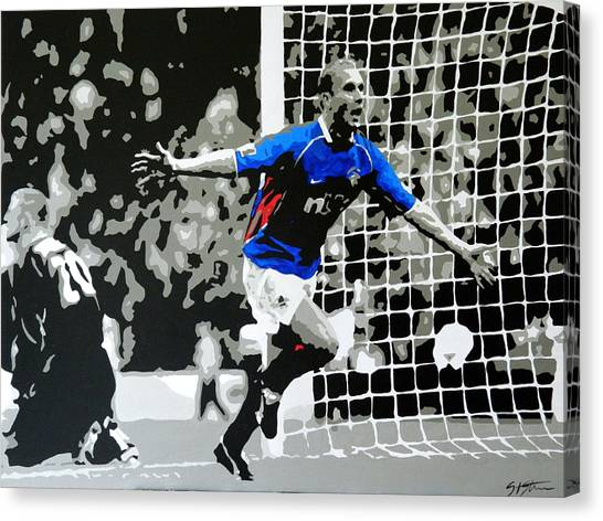 Uefa Champions Canvas Print - Lovenkrands Scottish Cup Final by Scott Strachan
