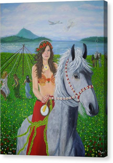 Lover / Virgin Goddess Rhiannon - Beltane Canvas Print