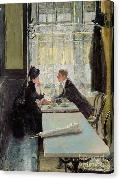 Cafes Canvas Print - Lovers In A Cafe by Gotthardt Johann Kuehl