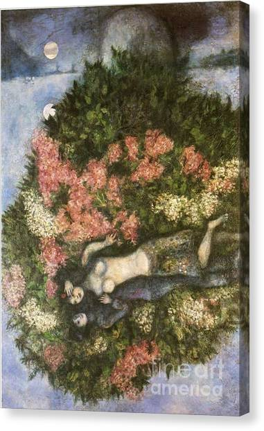Lovers In The Lilacs Canvas Print