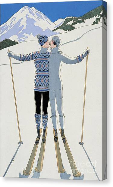 Vintage Canvas Print - Lovers In The Snow by Georges Barbier