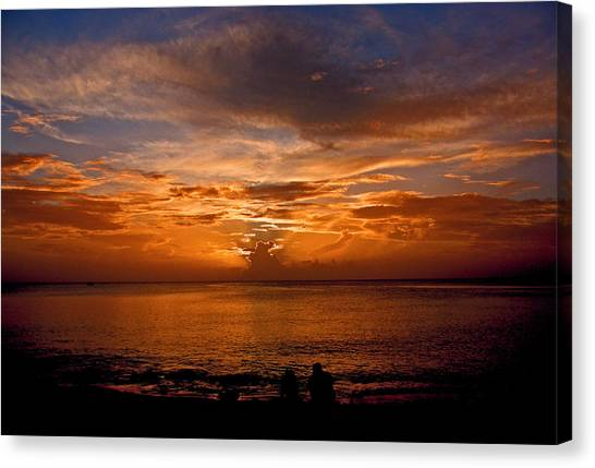Lovers Sunset Canvas Print by Martin Morehead