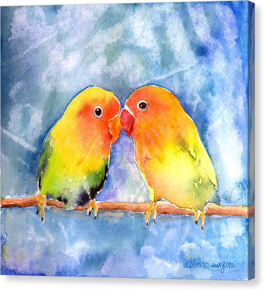 Tropical Birds Canvas Print - Lovey Dovey Lovebirds by Arline Wagner