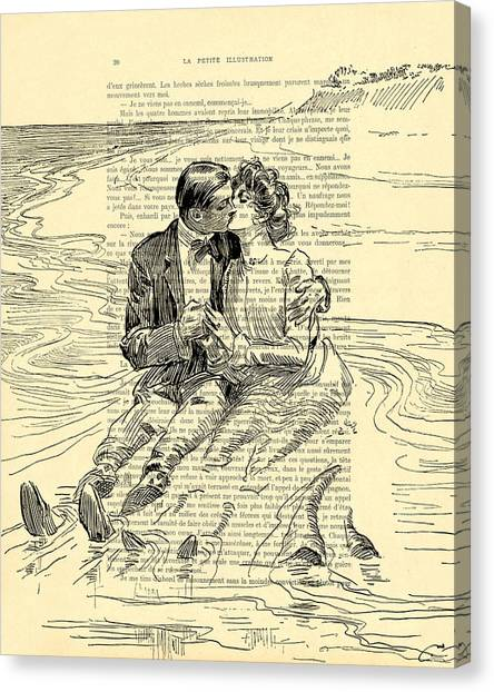 Wedding Gift Canvas Print - Loving Couple By The Sea by Madame Memento