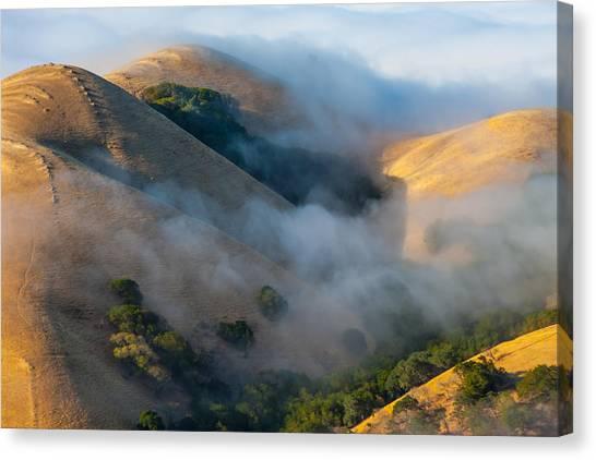 Low Clouds Between Hills Canvas Print