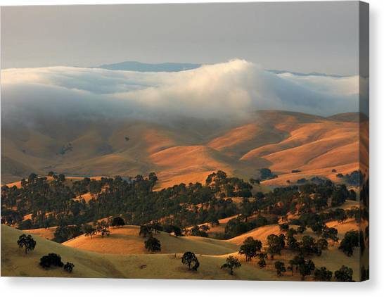 Contra Canvas Print - Low Clouds Over Distant Hills by Marc Crumpler