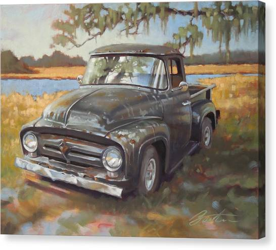 Ford Truck Canvas Print - Low Country Parking by Todd Baxter
