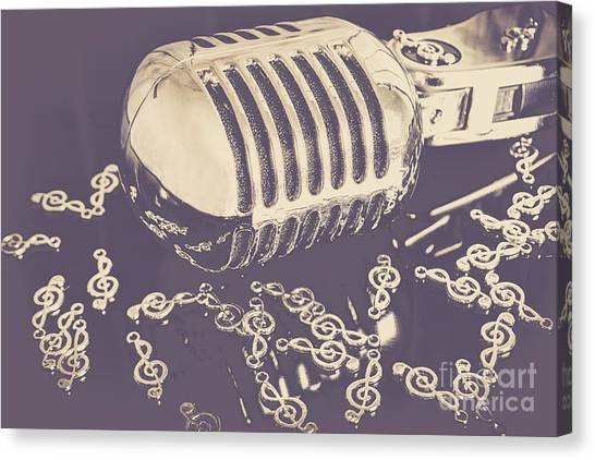 Microphones Canvas Print - Low Key Jazz Bar by Jorgo Photography - Wall Art Gallery