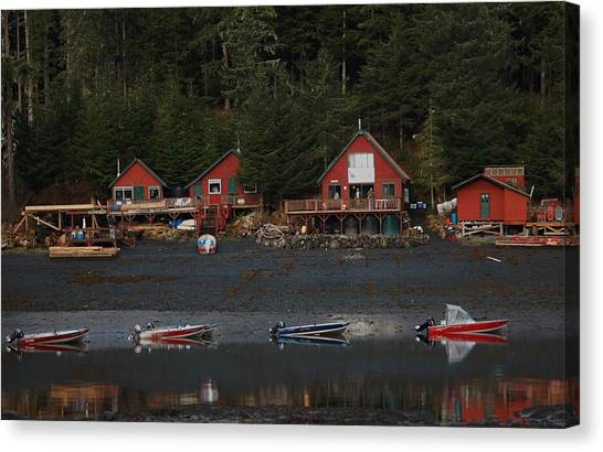 Low Tide At Fish Camp Canvas Print by Helen Carson