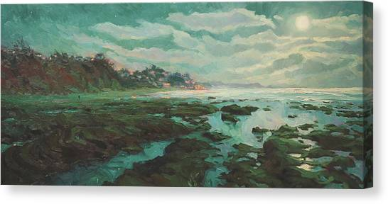Low Tide Canvas Print - Low Tide At Moonlight by Steve Henderson