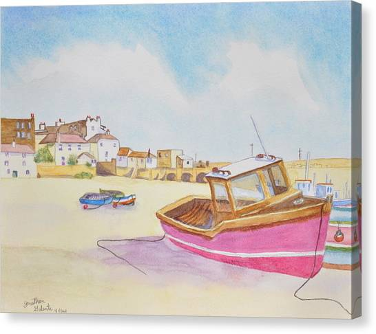 Low Tide Boat On The Beach Canvas Print by Jonathan Galente