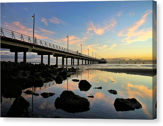Low Tide Reflections At The Pier  Canvas Print