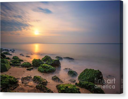 Low Tide Canvas Print - Low Tide Sunset  by Michael Ver Sprill