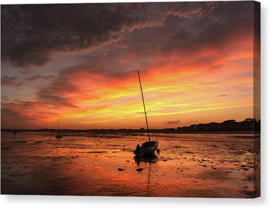 Low Tide Sunset Sailboats Canvas Print