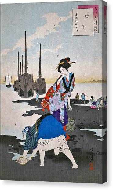 Clams Canvas Print - Low Tide - Top Quality Image Edition by Mizuno Toshikata