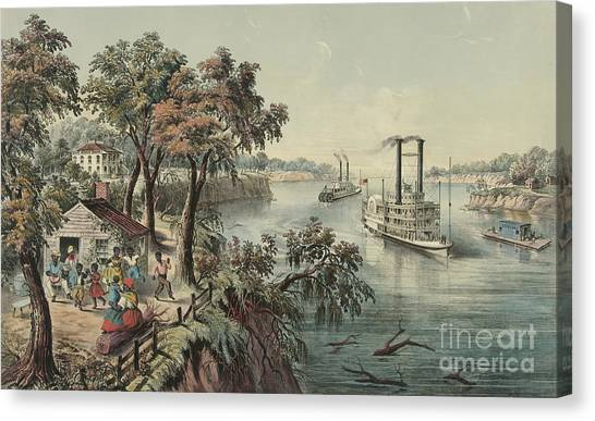 Currier And Ives Canvas Print - Low Water In The Mississippi, 1868  by Currier and Ives