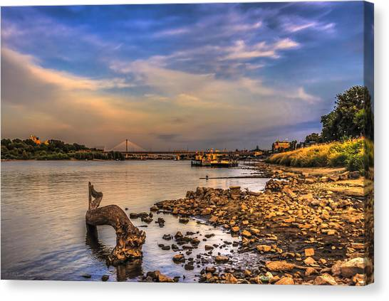 Low Water Vistula Riverscape In Warsaw Canvas Print