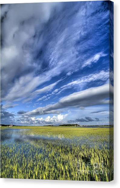 Marsh Grass Canvas Print - Lowcountry Flood Tide And Clouds by Dustin K Ryan
