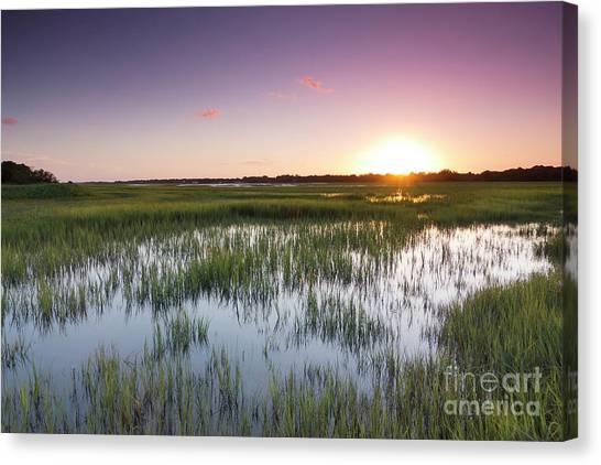 Marsh Grass Canvas Print - Lowcountry Flood Tide Sunset by Dustin K Ryan