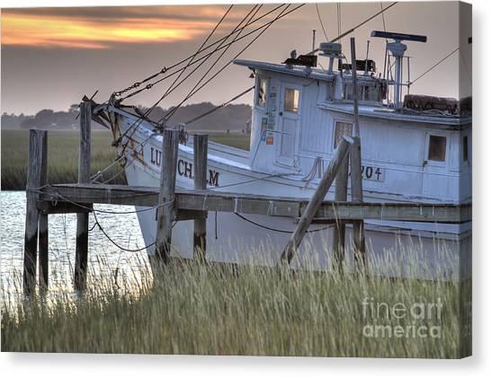 Shrimping Canvas Print - Lowcountry Shrimp Boat Sunset by Dustin K Ryan