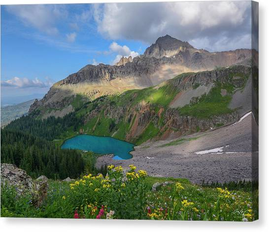 Lower Blue Lake And Mt. Sneffels Canvas Print by Aaron Spong