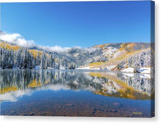 Lower Cataract Lake Fall Snow Scene Canvas Print