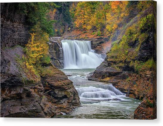 Lower Falls In Autumn Canvas Print