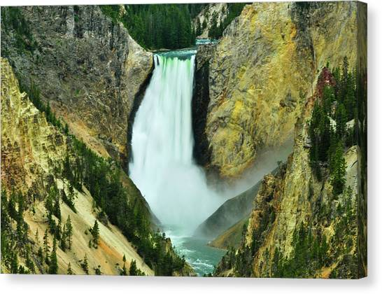 Canvas Print featuring the photograph Lower Falls No Border Or Caption by Greg Norrell