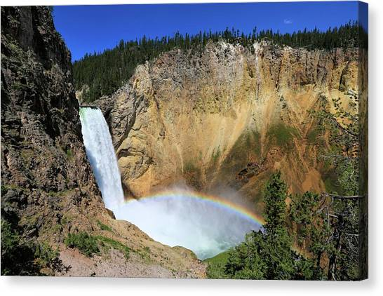 Lower Falls With A Rainbow Canvas Print