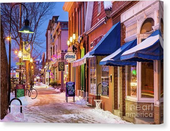 New Brunswick Canvas Print - Lower Maine Street Winter Scene by Benjamin Williamson