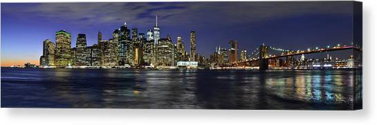 Lower Manhattan From Brooklyn Heights At Dusk - New York City Canvas Print
