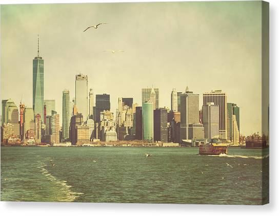 Lower Manhattan From The Ferry Canvas Print by Erin Cadigan