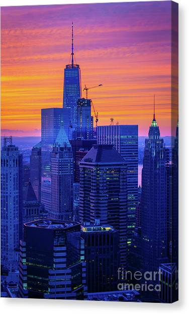 One Direction Canvas Print - Lower Manhattan Glow by Inge Johnsson