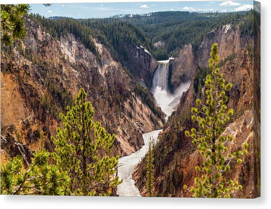 Lower Yellowstone Canyon Falls 5 - Yellowstone National Park Wyoming Canvas Print