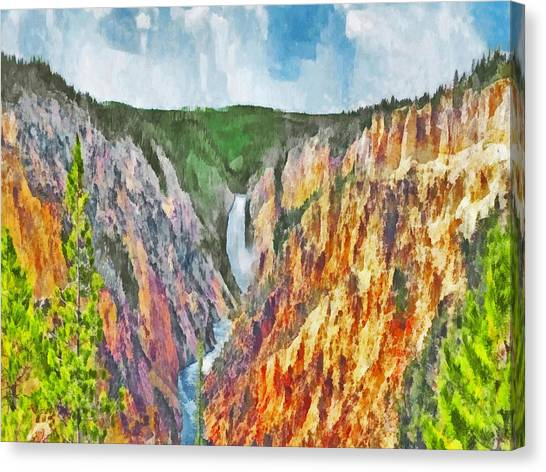 Canvas Print featuring the digital art Lower Yellowstone Falls by Digital Photographic Arts